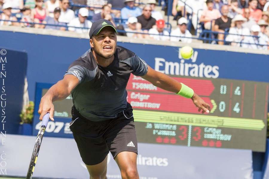 In reaching the 2014 Rogers Cup final, Jo-Wilfried Tsonga defeated three Top 10 players in three straight matches: Novak Djokovic, Andy Murray and Grigor Dimitrov. (photo by Kwai Chan / Meniscus Magazine)