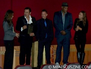 "Sonny Chiba (second from left) onstage with his Singafest Lifetime Achievement Award at the Bigfoot Crest Theatre (now the Crest Westwood). Joining are actors Noah Hathaway (center, ""The Neverending Story""); Tony Todd (second from right, ""Candyman""); and Ashley Jordan (right, CEO of Bigfoot Entertainment). (photo by Jim Higgins / Meniscus Magazine)"
