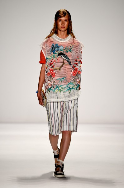 An outfit in the Vivienne Tam Spring 2015 collection. (photo courtesy of Getty Images)