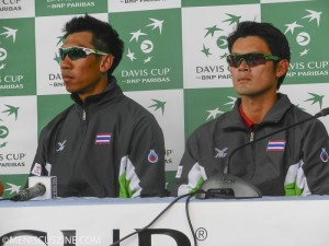 Paradorn Srichaphan and Danai Udomchoke, Thailand's current No. 1 player, face the press after Thailand defeated Pakistan in the Davis Cup Asia/Oceania Zone Group II final. The team will be promoted to Group I in 2015. (photo by Yuan-Kwan Chan / Meniscus Magazine)