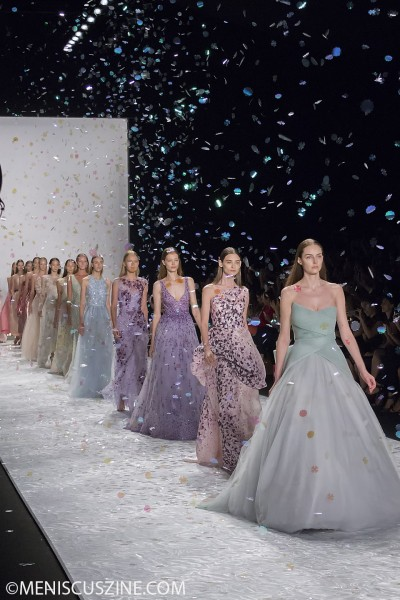 Confetti and couture at the end of the Monique Lhuillier Spring 2015 runway show at New York Fashion Week. (photo by Shelly Xu / Meniscus Magazine)