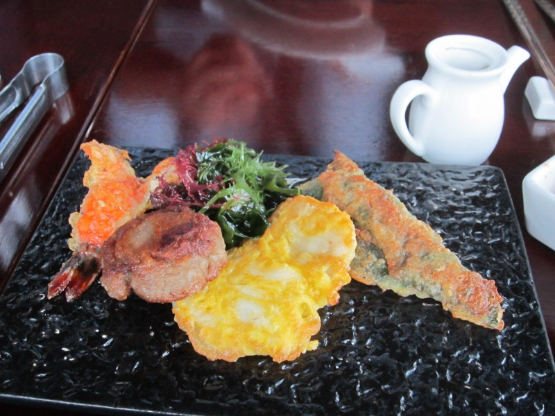 A sampler of jun (Korean pancakes) with beef, perilla leaf, shrimp, and fish, at Gaonnuri. (photo by Christopher Bourne / Meniscus Magazine)