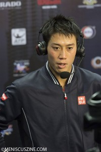 2014 Malaysian Open champion Kei Nishikori during a television interview. (photo by Christiaan Hart for Meniscus Magazine)