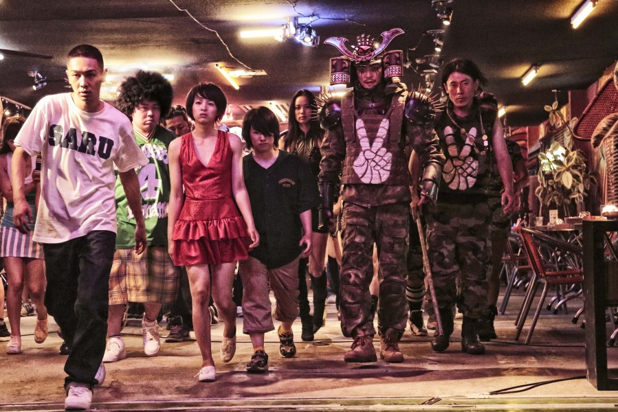 "It's an all-out gang war in ""Tokyo Tribe,"" with some of the players including Kai (YOUNG DAIS, left) and Sunmi (Inoue Nana, third from left). (photo courtesy of the Busan International Film Festival)"