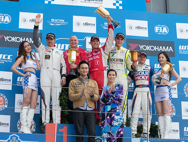 Macau has been good to Robert Huff (center), who won the year-end World Touring Car Championship (WTCC) Guia Race of Macau for the seventh time in 20 starts. (photo by Christaan Hart / Meniscus Magazine)