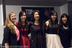 """""""Top Spin"""" filmmakers Sara Newens (far left) and Mina T. Son (far right) flank the 2012 U.S. Olympic women's table tennis team: Erica Wu, Lily Zhang and Ariel Hsing at SPiN New York. Wu is a teammate of Hsing's at Princeton, while Zhang attends the University of California, Berkeley. (photo by Kwai Chan / Meniscus Magazine)"""
