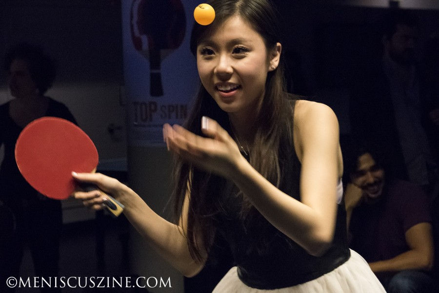 """Three-time U.S. champion Ariel Hsing at the """"Top Spin"""" world premiere after-party at SPiN, a table tennis nightclub in New York. Hsing, who turned 19 two weeks after the premiere, is now a sophomore at Princeton University. (photo by Kwai Chan / Meniscus Magazine)"""