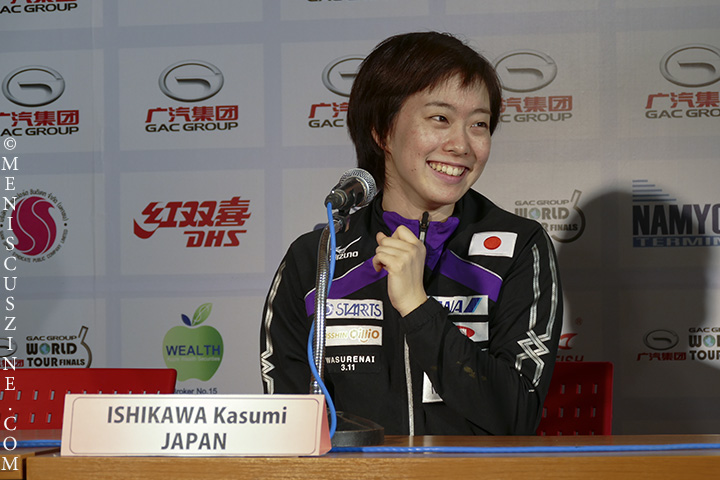 Kasumi Ishikawa, 21, at the press conference following her US$100,000 victory at the 2014 ITTF Grand Tour Final in Bangkok. (photo by Yuan-Kwan Chan / Meniscus Magazine)