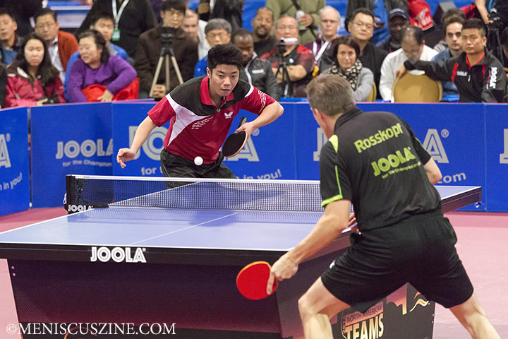Lin Chen squares off against Jörg Roßkopf. (photo by Kwai Chan / Meniscus Magazine)