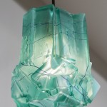 Thaddeus Wolfe _ Unique Assemblage pendant lamp in teal hand-blown, cut and polished glass