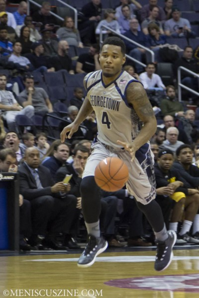 Georgetown junior guard D'Vauntes Smith-Rivera was the top scorer in the game, finishing with 16 points. (photo by Kwai Chan / Meniscus Magazine)