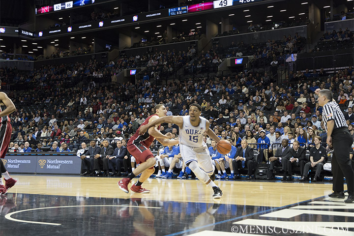 Duke freshman Jahlil Okafor makes a drive to the basket. (photo by Kwai Chan / Meniscus Magazine)