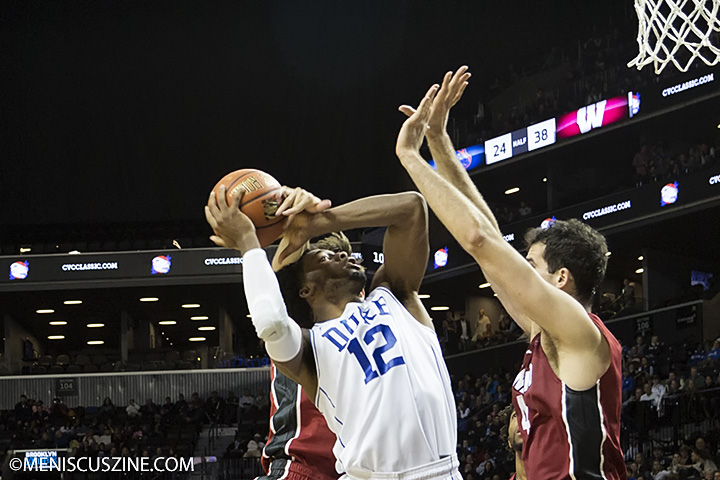 "Justise Winslow: Shooting Guard, 6'7"", 230 lbs., 19 years old. (photo by Kwai Chan / Meniscus Magazine)"