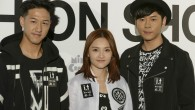 At Hong Kong Fashion Week, singer Jay Fung (馮允謙) promoted the i.t menswear label 5cm alongside colleagues Alfred Hui (許廷鏗) and Mag Lam (林欣彤).