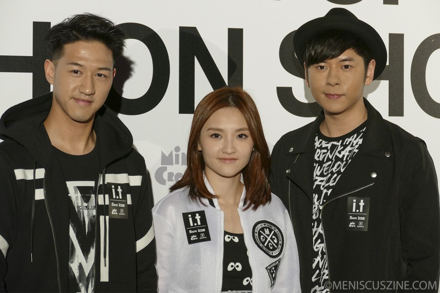Jay Fung (left); Mag Lam (center, in Mini Cream); and Alfred Hui (right, in izzue) before the i.t Spring/Summer 2015 fashion show at Hong Kong Fashion Week. (photo by Yuan-Kwan Chan / Meniscus Magazine)