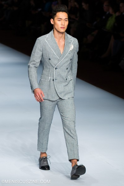 A checkered suit from the Loris Diran Spring 2015 men's collection. (photo by Tom Platt for Meniscus Magazine)
