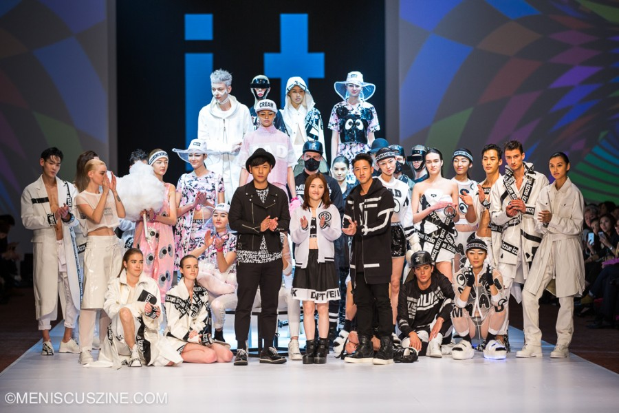 Alfred Hui (center left, in izzue) Mag Lam (center, in Mini Cream); and Jay Fung (center right, in 5cm) at the conclusion of the i.t. Spring/Summer 2015 fashion show at Hong Kong Fashion Week. (photo by Tom Platt for Meniscus Magazine)