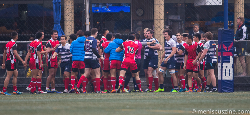 A scuffle broke out between both teams at the Hong Kong Football Club. (photo by Christiaan Hart / Meniscus Magazine)