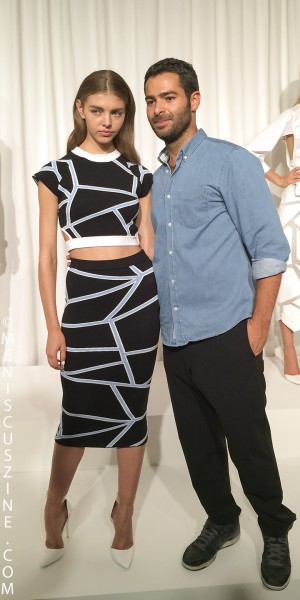 Fashion designer Jonathan Simhkai (right) with one of his models at his Spring 2015 presentation in New York. (photo by Angela K. Hom / Meniscus Magazine)