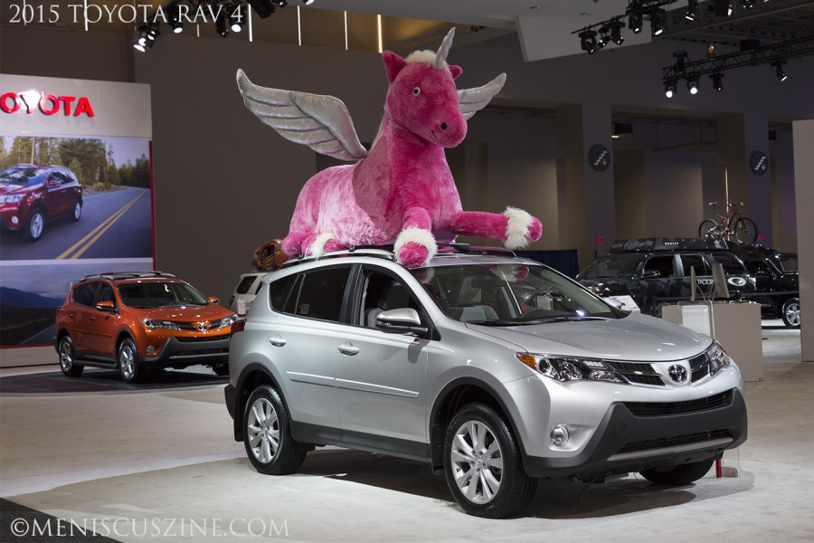 The 2015 Toyota RAV 4...and a unicorn at the 2015 Washington Auto Show. (photo by Kwai Chan / Meniscus Magazine)