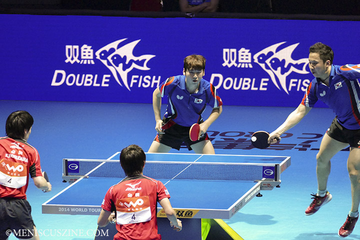In a nail-biting final match that went the full distance, Hyundeok Seo (left) and Eonrae Cho of South Korea won the men's doubles event, 8-11, 12-10, 11-5, 10-12, 11-6, 6-11, 11-9, over Kenta Matsudaira and Koki Niwa of Japan. (photo by Yuan-Kwan Chan / Meniscus Magazine)