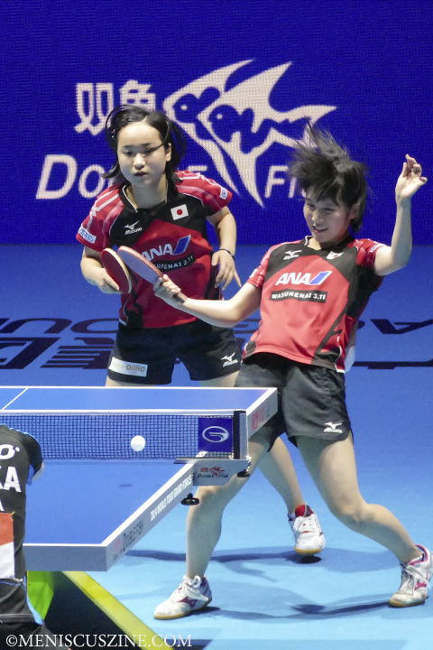 Mima Ito (left) and Miu Hirano, both 14, made history in the women's doubles event by becoming the youngest team to win the ITTF World Grand Tour Finals. (photo by Yuan-Kwan Chan / Meniscus Magazine)