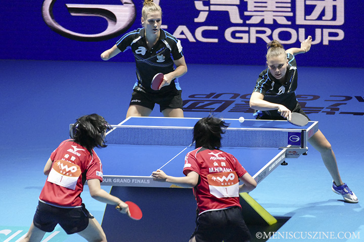 The Japanese team easily defeated the Polish duo of Natalia Partyka (left, and also the reigning three-time Paralympic gold medalist in singles) and Katarzyna Grzybowska, 11-7, 11-6, 11-4, 11-5. (photo by Yuan-Kwan Chan / Meniscus Magazine)