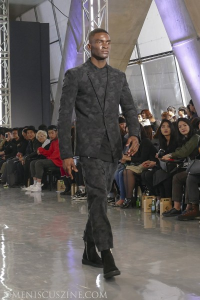 Sam Okyere, the lone non-Asian model in the Byungmun Seo Fall 2015 runway show, is a 23-year-old Ghanaian making his living as an actor in South Korea. (photo by Yuan-Kwan Chan / Meniscus Magazine)