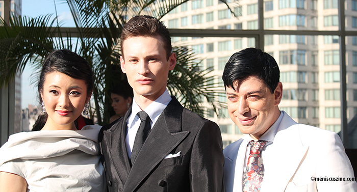 Malan Breton (right) with two of his models at his Spring 2016 bridalwear presentation. (photo by Shelly Xu / Meniscus Magazine)