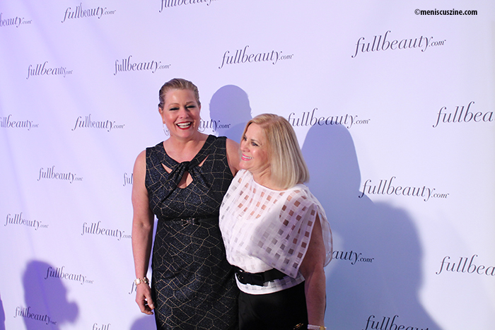 Model Emme (left) with Nancy LeWinter, editorial director of FULLBEAUTY Brands (photo by Shelly Xu / Meniscus Magazine)