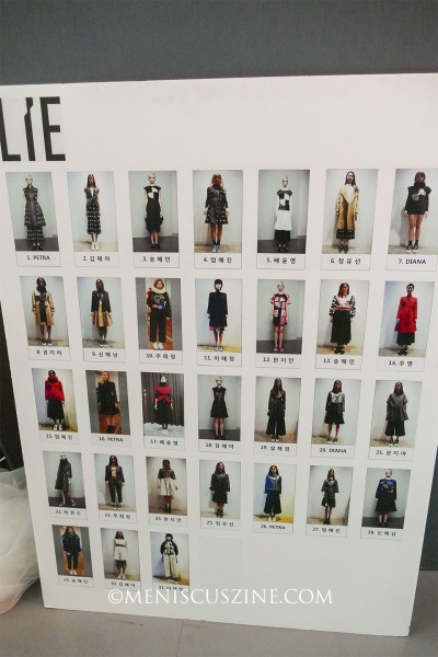 All the outfits in the LIE Fall 2015 collection, featured backstage on a poster. (photo by Yuan-Kwan Chan / Meniscus Magazine)