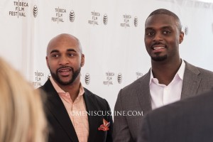 Super Bowl XLII champions David Tyree (left) and Plaxico Burress at the 2015 Tribeca Film Festival. (photo by Yuan-Kwan Chan / Meniscus Magazine)