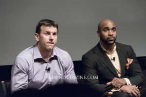 """Chris Snee (left) and David Tyree at the post-screening Q&A session for Spike Lee's """"The Greatest Catch Ever"""" at the SVA Theater on Apr. 19. (photo by Yuan-Kwan Chan / Meniscus Magazine)"""
