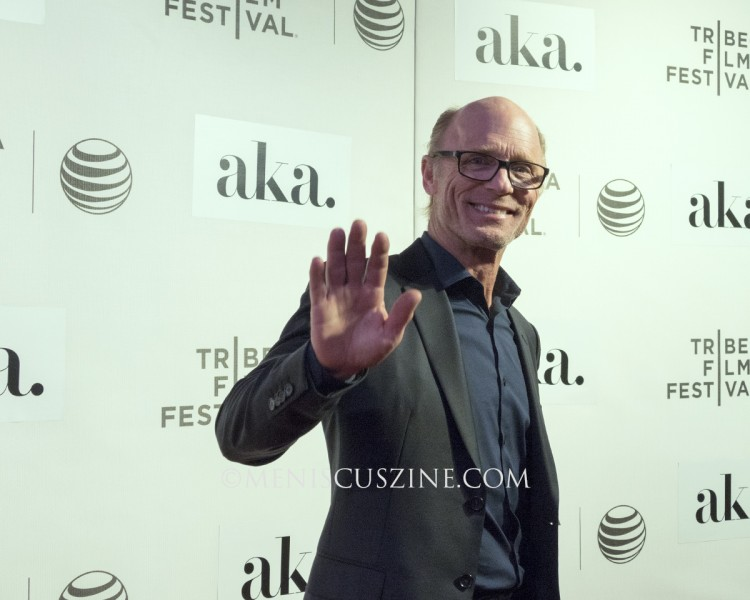 "Ed Harris waves to our camera at the world premiere of ""The Adderall Diaries,"" which screened at the BMCC Tribeca PAC. (photo by Yuan-Kwan Chan / Meniscus Magazine)"