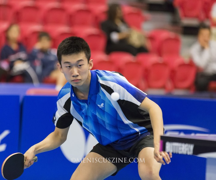 Zhang Kai, who relocated to the United States from China two years ago, defeated Jack Wang in the final, 7-11, 11-4, 11-6, 11-4, 11-7. (photo by Kwai Chan / Meniscus Magazine)