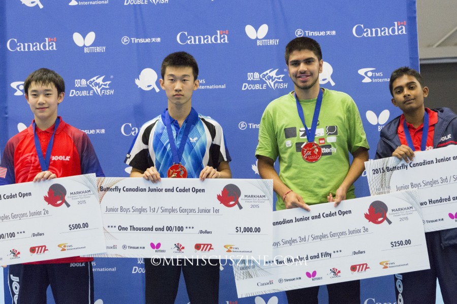 The top four finishers in the 2015 Canadian Junior & Cadet Open junior boys' singles event (left to right): Jack Wang (2nd place); Zhang Kai (1st); Kunal Chodri (tie for 3rd); and Krishnateja Avvari (tie for 3rd). All four players represented the United States. (photo by Kwai Chan / Meniscus Magazine)