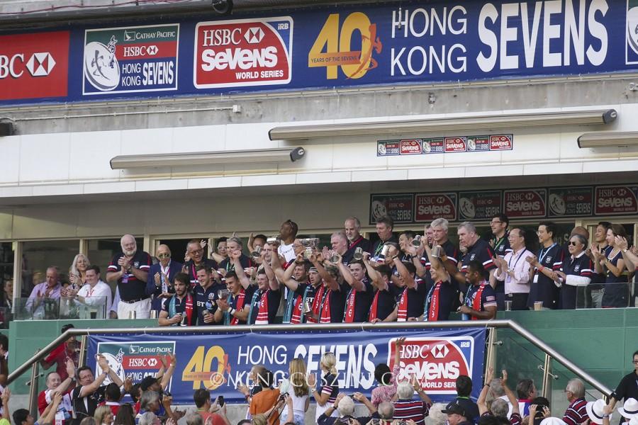 A victorious Scotland after defeating France, 26-5, at Hong Kong Stadium. (photo by Yuan-Kwan Chan / Meniscus Magazine)