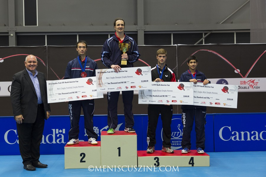 Standing tall atop the podium: the oldest winner in the history of the ITTF North American Cup, 44-year-old Jimmy Butler (second from left). Joining him were runner-up Timothy Wang (left); Pierre-Luc Theriault (3rd place); and last year's winner, Kanak Jha (4th place). (photo by Kwai Chan / Meniscus Magazine)