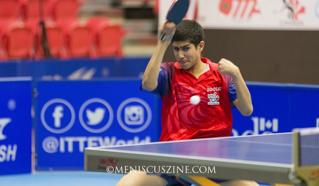 Defending champion Kanak Jha, who made history last year by winning the ITTF North America Cup at the age of 14, fell to Timothy Wang in the semifinals, 11-8, 11-9, 14-12, 8-11, 1-11, 8-11, 11-5. (photo by Kwai Chan / Meniscus Magazine)