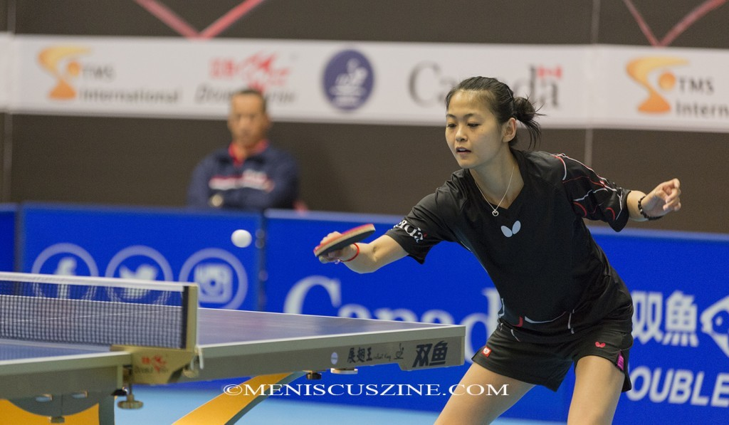 Zhang Mo successfully defended her ITTF North America Cup title, defeating the top seed from the U.S., Lily Zhang, 11-3, 11-1, 8-11, 11-8, 11-7. (photo by Kwai Chan / Meniscus Magazine)