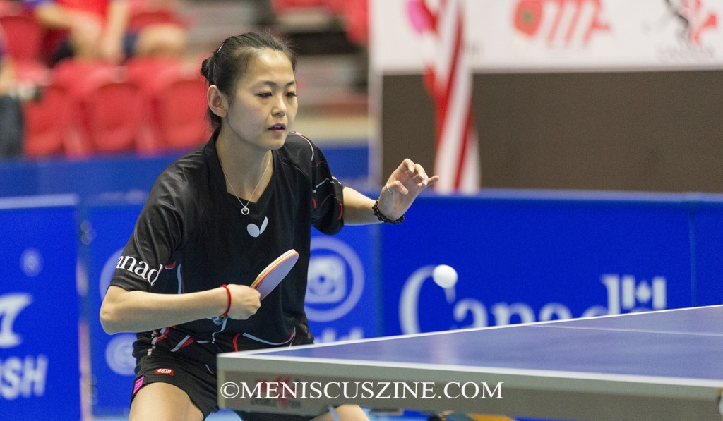 Zhang Mo prevented a U.S. sweep in the 2015 ITTF Canadian Junior & Cadet Open and the ITTF North America Cup, winning the women's singles title in the latter in Markham, Ontario, Canada. (photo by Kwai Chan / Meniscus Magazine)
