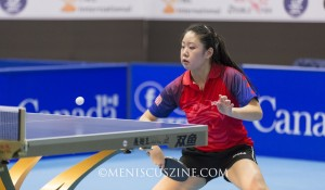 Lily Zhang competing in the 2015 ITTF North America Cup. She competed in her second Olympics in 2016. (photo by Kwai Chan / Meniscus Magazine)