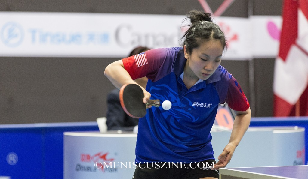 Judy Hugh, the fourth-place finisher at the 2015 ITTF North America Cup. (photo by Kwai Chan / Meniscus Magazine)
