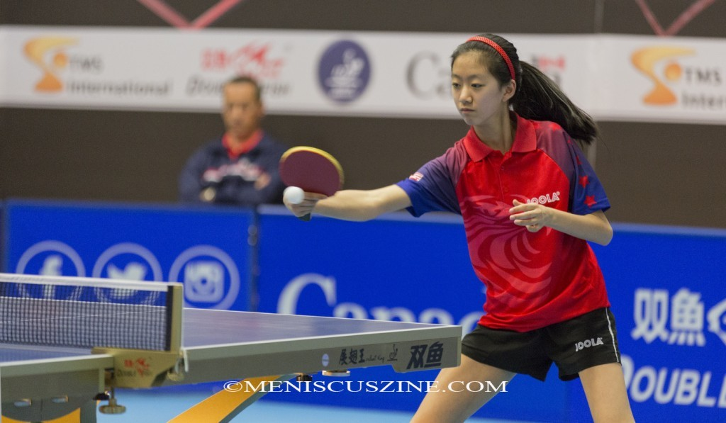 Amy Wang (pictured) lost to Lily Zhang in the semifinals. 11-3, 11-3, 8-11, 11-13, 11-9, 11-9. (photo by Kwai Chan / Meniscus Magazine)