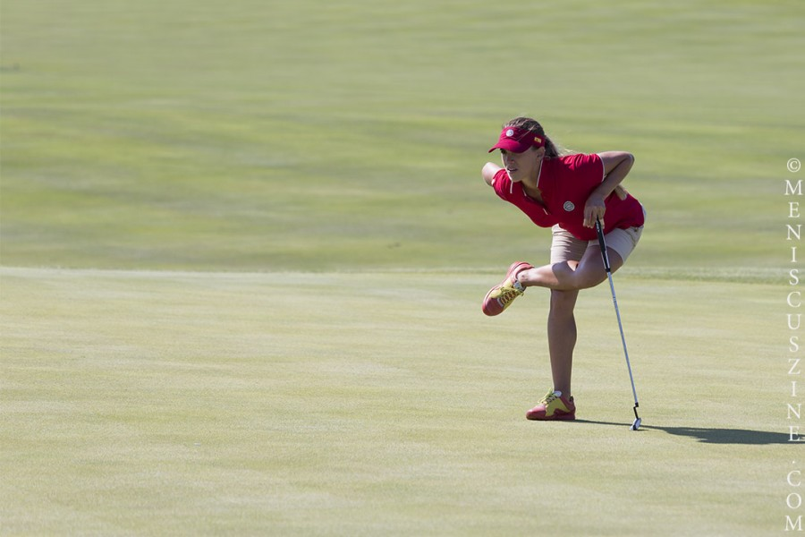 Belen Mozo eyes a putt at the 2014 International Crown. (photo by Kwai Chan / Meniscus Magazine)
