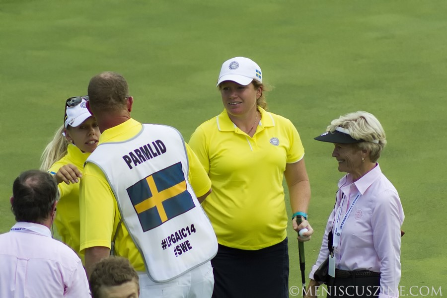 Five months pregnant, 33-year-old Mikaela Parmlid came out of retirement to represent Sweden in the 2014 LPGA International Crown. (photo by Kwai Chan / Meniscus Magazine)