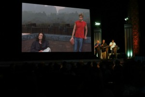 """The RiffTrax team during a live performance of """"The Room."""" (photo courtesy of the Tribeca Film Festival)"""