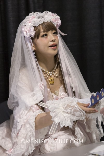 Midori Fukasawa modeled in a fashion show featuring the Japanese labels Baby, The Stars Shine Bright, and Alice and the Pirates. (photo by Kwai Chan / Meniscus Magazine)