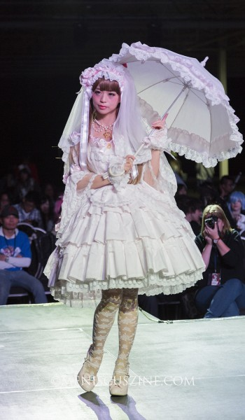 Lolita model Midori Fukasawa headlined the Baby, the Stars Shine Bright fashion show at Anime North 2015 in Toronto. (photo by Kwai Chan / Meniscus Magazine)