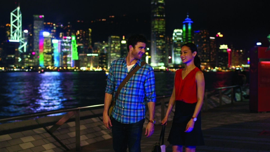 """Bryan Greenberg (left) and Jamie Chung in """"It's Already Tomorrow in Hong Kong."""" (still courtesy of Josh Silfen)"""